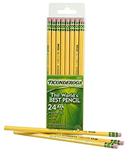 Dixon Ticonderoga Wood-Cased #2 HB Pencils, Box of 24, Yellow (13924)