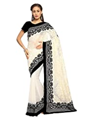 Designersareez Women Chiffon Embroidered White Saree With Unstitched Blouse(1478)