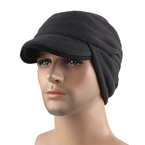 Home Prefer Unisex Winter Skull Cap Outdoor Windproof Polar Fleece Earflap Hat with Visor Dark Gray (Warm Weather Running Gear compare prices)