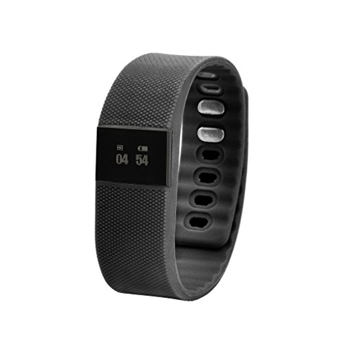 Happy Hours® Smart Bracelet Watch Bluetooth 4.0 IP-X6 Water-resistant Sleep Tracker Calorie Burning Counter Fitness Pedometer Anti-lost Wristband (Black)