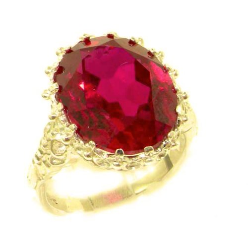 Luxury Solid 14K Yellow Gold Large 16x12mm Oval 12ct Synthetic Ruby Ring - Size 9.25 - Finger Sizes 5 to 12 Available - Perfect Gift for Birthday, Christmas, Valentines Day, Mothers Day, Mom, Mother, Grandmother, Daughter, Graduation, Bridesmaid.