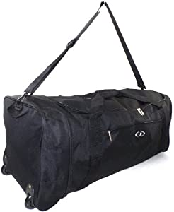 "Extra Large 32"" Folding Wheeled Holdall Sport Weekend Travel Luggage Duffle Bag"