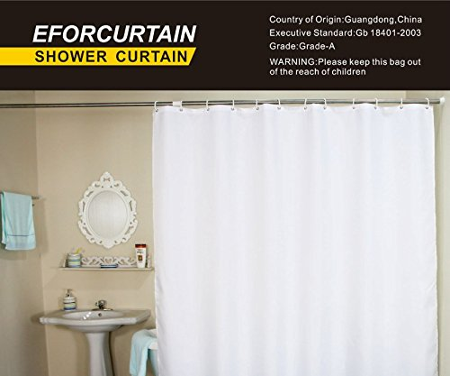 Eforcurtain Nautical Stripes Mildew Proof Water Repellent Fabric Shower Curtain Navy And White