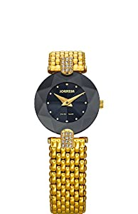 Jowissa Women's J5.008.S Facet Strass Gold PVD Dimensional Glass Black Dial Rhinestones Watch