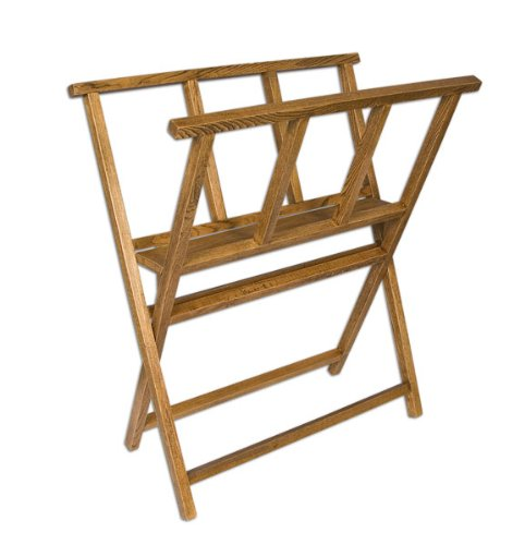 Folding Wood Print Rack - Walnut Stain Finish