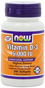 NOW Foods Vitamin D3 5000 Iu, 240 Softgels,