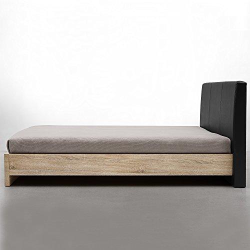 encasa-Design-Polsterbett-Skandinavia-140x200cmFurnier-Eiche-Natur-Polster-schwarz-modernes-Bett-Kunst-Leder-mit-Stecklattenrost