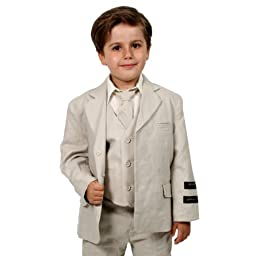 JL5026 NATURAL Cotton/Linen Boys Summer Suit From Baby to Teen (6)