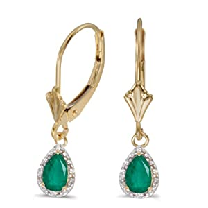 14k Yellow Gold Pear Emerald And Diamond Leverback Earrings