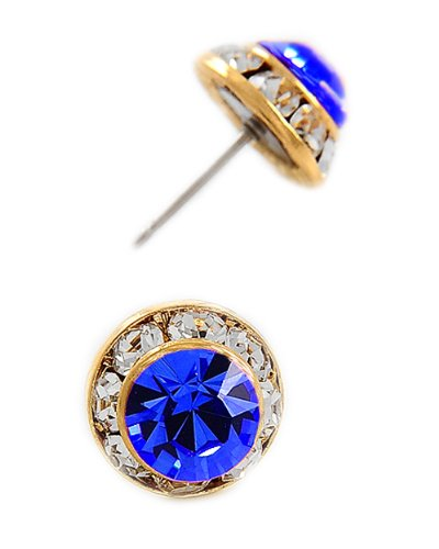 Gold Tone Sapphire Swarovski Crystal Round Buttons Post Earrings