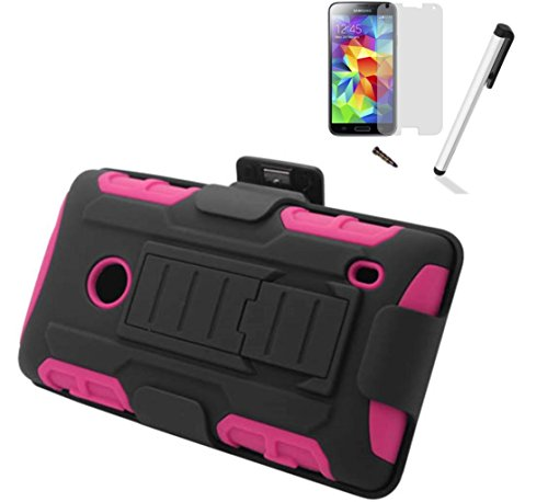For Nokia Lumia 520 (At&T T-Mobile Metro Pcs Cricket) Symbiosis Advanced Armor Impact Hybrid Soft Silicone Cover Hard Snap On Plastic Case Kick Stand With Belt Clip Holster + [World Acc] Tm Brand Lcd Screen Protector + Silver Stylus Pen + Black Dust Cap F
