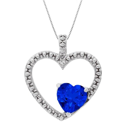 Created Sapphire and Diamond Double Heart Pendant