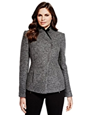 Per Una Wool Blend Double Kint Collar Jacket