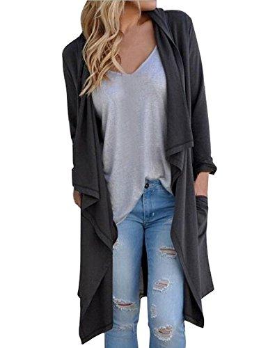 Minetom Donna Cardigan Maniche Lunghe Jumper Outwear Maglia Jacket Sweatshirt Tops Grigio scuro IT 40
