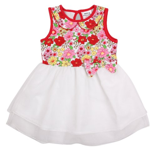 Red 18M/6Y Kids Wearprinted Beautiful Flowers Summer Cotton Party Dress