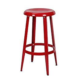 Asense 26 Inches Tall Glossy Toy Color Round Top Metal Stools (Apple Red)