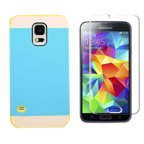 Vandot Mobile Phone Accessory 2in1 For Smasung Galaxy S5 SV I9600 1x Hybrid Protective Hard Back Case Cover Soft Silicone TPU Skin Shell with Transportation Bus Card Pocket + 1x Screen Protector LCD Guard Film - Blue White Yellow Contrast Color