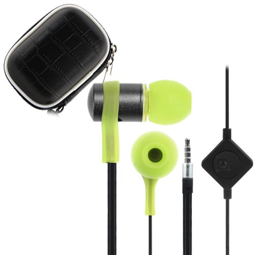 Ikross Green / Black In-Ear 3.5Mm Noise-Isolation Stereo Flat Cable Tangle Free Earbuds With Microphone + Headset Eva Case For Apple Iphone 6, 5S 5C 5 Cellphone Smartphone Tablet And Mp3 Player
