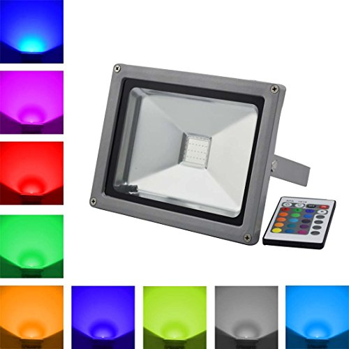 Grexistar® 10W /20W / 30W /50W /100W Ac 85V~265V Colorful Rgb Led Flood Light Landscape Lamp Ir Remote Control (20W)