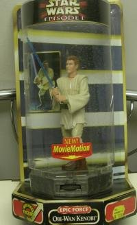 Star Wars Episode 1 Rotate 360 Degree 6 Inch Tall Year 1999 Action Figure - Epic Force Obi-Wan Kenobi with Movie Motion Animated Battle Moves