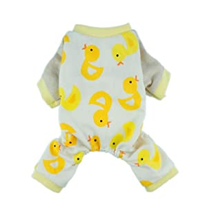 Cute Duck Dog Pajamas Dog Clothes Dog Jumpsuit Pet Cat Pjs, Small