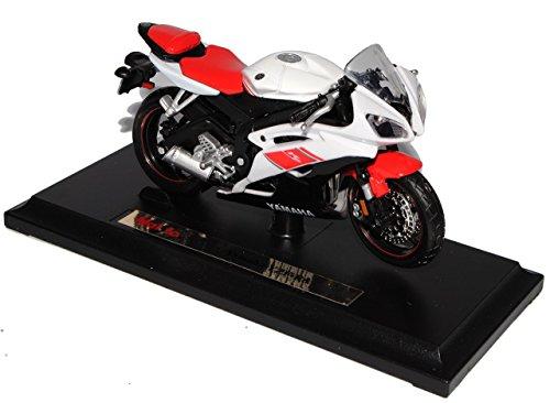 Yamaha-Yzf-r6-Weiss-Rot-Mit-Sockel-118-Maisto-Modellmotorrad-Modell-Motorrad