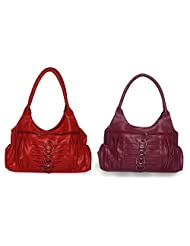 Arc HnH Women Combo Handbag Magnificent - Red+Pink