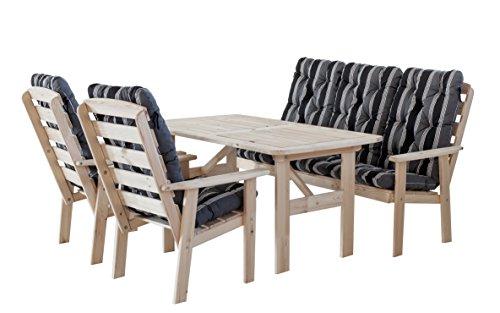 90314 7-teilig Garten Sitzgruppe Essgruppe Loungegruppe Gartenmöbel Essgarnitur Hanko Maxi, natur mit Kissen, schwarz / grau