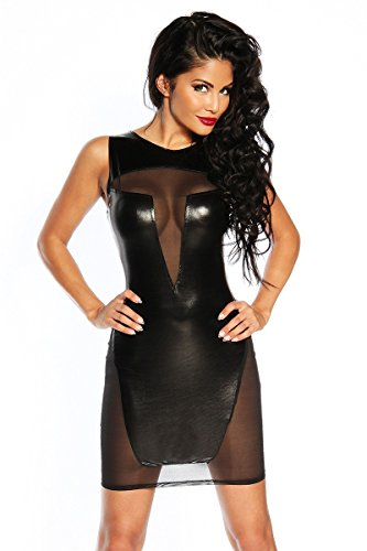 Amynetti Damen Kleid Sexy Elegantes transparentes Wetlook Minikleid mit transparenten Einsätzen schwarz