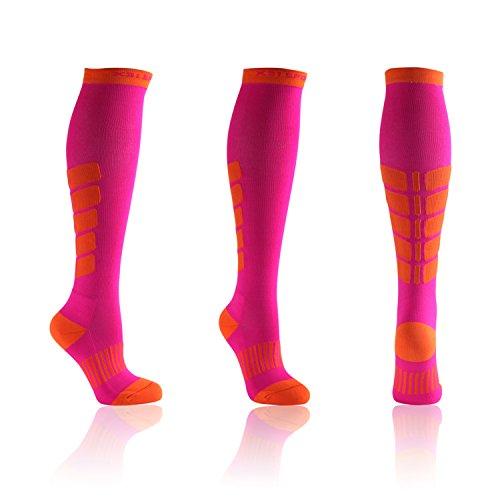 X31 Sports Thigh High Compression Socks, Womens (Medium, Pink)
