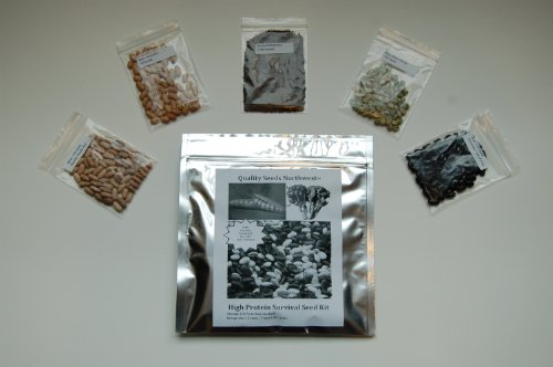 Survival Seed Kit, High Protein, 100% Heirloom/non GMO (Protein can be dangerously low in other seed kits). >2,200 high protein (broccoli, bean, pea) seeds
