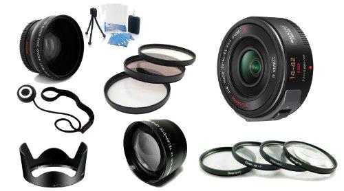 Panasonic Lumix G X Vario PZ 14-42mm/F3.5-5.6 Lens for Panasonic Lumix G-Series Digital Cameras (Black) - H-PS14042K - w/ Lens Package