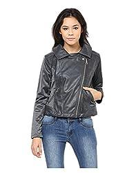 Yepme Skylar PU Leather Jacket - Grey -- YPMJACKT5142_XS