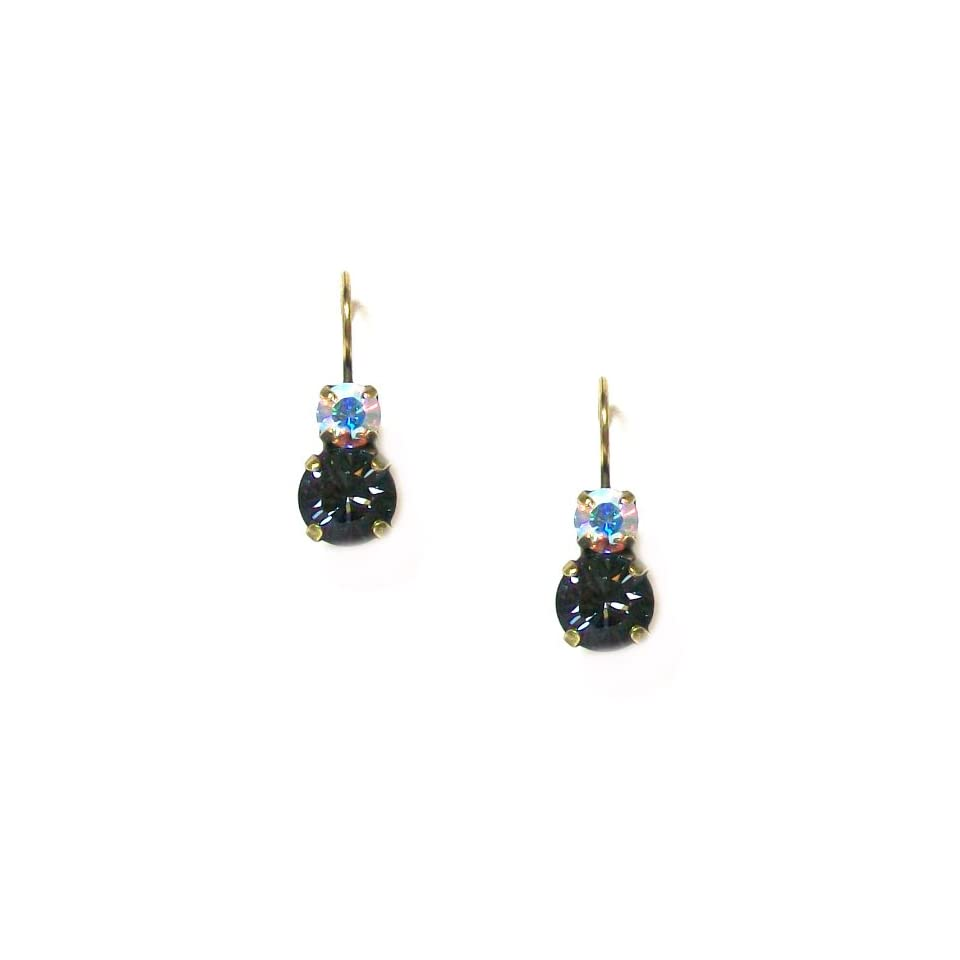 dfb92a6d5 Israeli Designer Mariana Antique Gold Plated Drop Earrings with Black  Diamond and Volcano Swarovski Crystals
