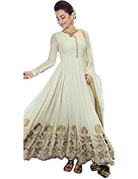 White World Womens Fabric Georgette Anarkali Suit (43_White Anarkali Suit_Cream_Freesize )