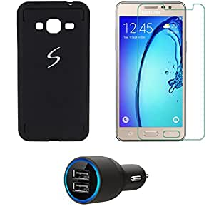 NIROSHA Tempered Glass Screen Guard Cover Case Car Charger for Samsung Galaxy J3 - Combo