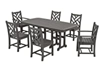 Hot Sale POLYWOOD PWS121-1-GY Chippendale 7-Piece Dining Set, Slate Grey