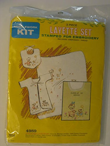 Needlework Kit 3 Piece Layette Set Stamped For Embroidery (Kimono, Blanket And Bib) front-86896