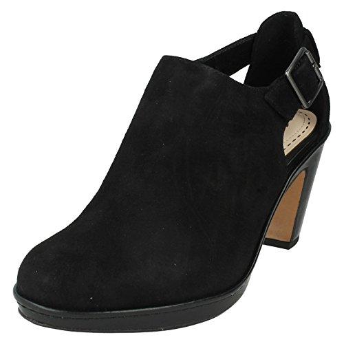 Clarks, Scarpe col tacco donna nero Black, multicolore (Black Suede), 39 EU