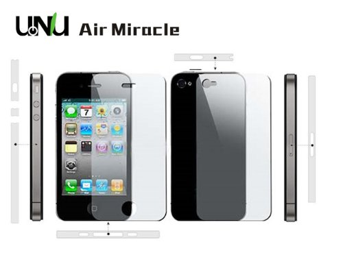 uNu Miracle Air Full Body Protector Suite Front Back & Side Coverage for iPhone 4 4S (Pack of 3 , CLEAR)