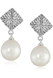 Sterling Silver 8-9mm White Oval Freshwater Cultured Pearl and Swarovski Zirconia Pyramid Drop Earrings