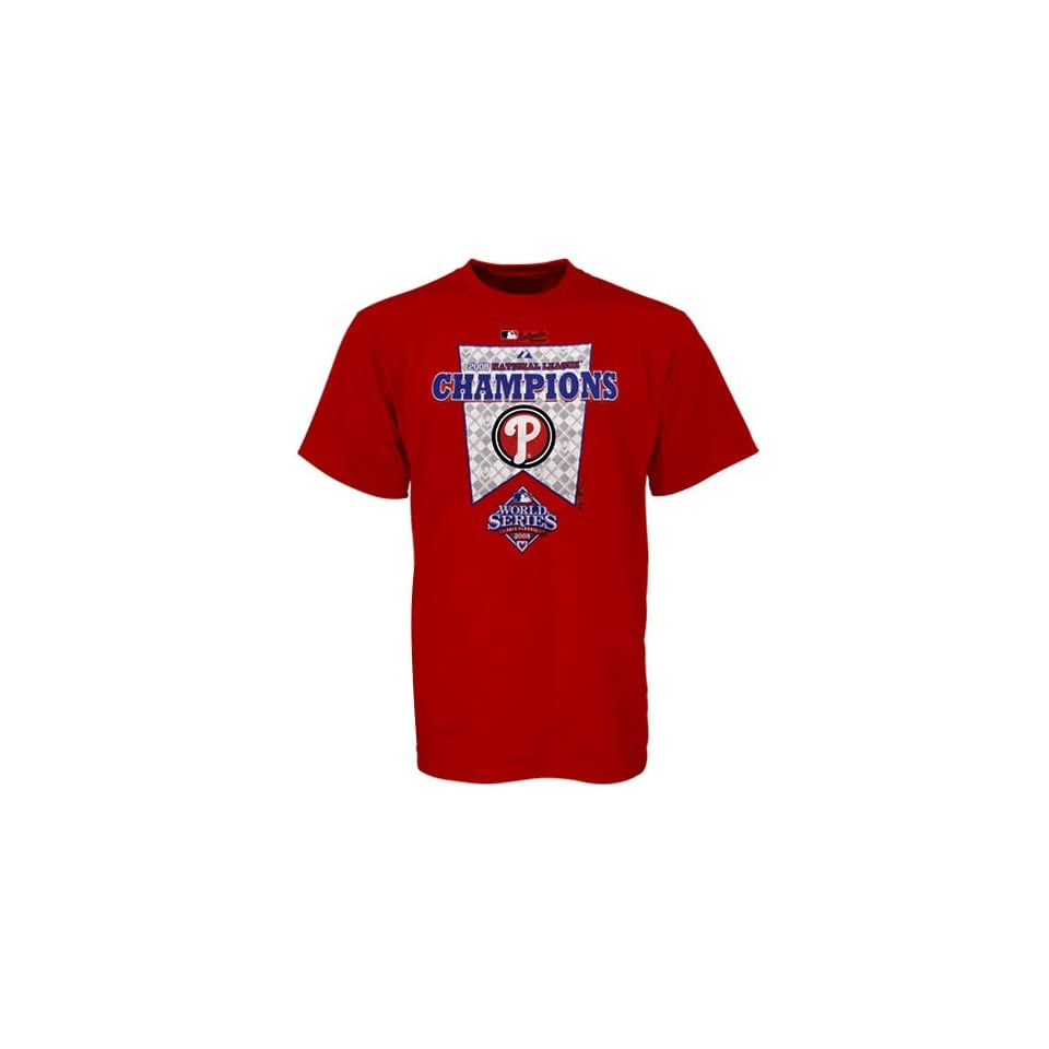 Majestic Philadelphia Phillies Youth Red 2008 MLB National League Champions Official Locker Room T shirt