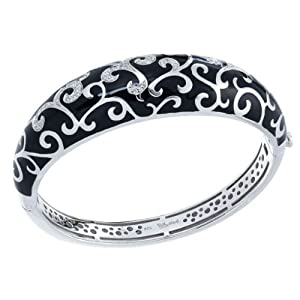 Belle Étoile Royale Black Enamel and Cubic Zirconia Bangle