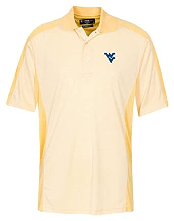 NCAA West Virginia Mountaineers Mens Color Block Fine Line Stripe Polo Shirt by Oxford