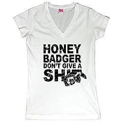Honey Badger Don't Give A Shit Juniors V-Neck T-Shirt