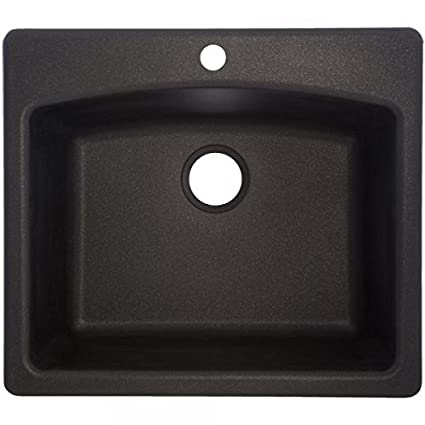 Franke USA ESOX25229-1 Single Bowl Sink Granite 9-Inch Deep, Onyx
