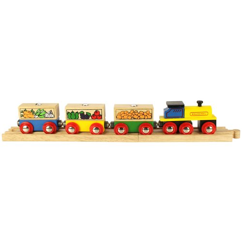 41gTy5D9UmL Reviews Bigjigs Wooden Complete 4 Piece Train Set (Fruit and Vegetable Train)