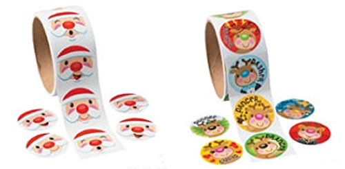 Christmas Sticker Roll Set (200 Stickers) Christmas/Stationary/Holiday