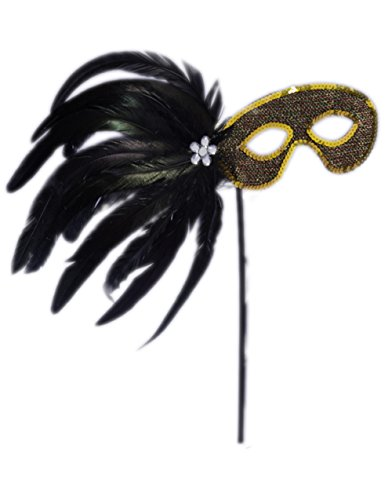 Black And Gold Venetian Costume Carnival Mask With Stick Handle Flower Plume