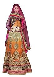 Navyata Women's Net Semi-Stitched Lehenga Choli (1805 B_Orange_Free Size)
